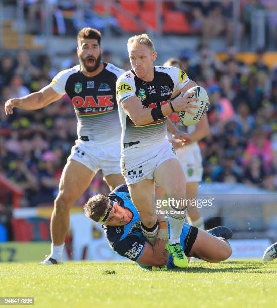 Peter Wallace of the Panthers is tackled during the round six NRL match between the Penrith Panthers and the Gold Coast Titans on April 15 2018 in...