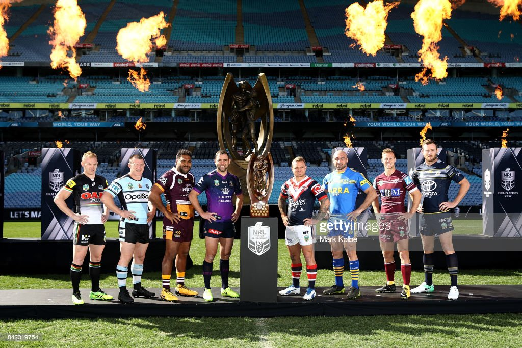 Peter Wallace of the Panthers, Paul Gallen of the Sharks, Sam Thaiday of the Broncos, Cameron Smith of the Storm, Jake Friend of the Roosters, Tim Mannah of the Eels, Daly Cherry-Evans of the Sea Eagles and Gavin Cooper of the Cowboys pose during the 2017 NRL Finals Series Launch at ANZ Stadium on September 4, 2017 in Sydney, Australia.