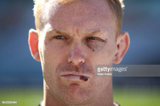 Peter Wallace of the Panthers speaks to the media during the 2017 NRL Finals Series Launch at ANZ Stadium on September 4 2017 in Sydney Australia