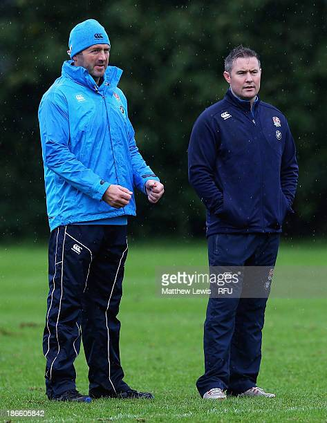 Peter Walton and Nick Walshe Coaches of England look on during a training session at Loughborough University on November 1 2013 in Loughborough...