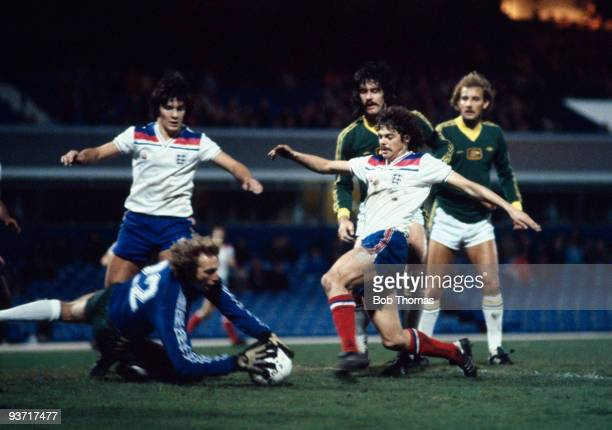 Peter Ward of England is thwarted by Allan Maher Australia goalkeeper during the B International held at St Andrews Birmingham England on 17th...