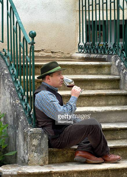 Peter Wasserman manager of the Beaune-based wine exporter Le Serbet SARL, tastes a Clos Saint Jean wine in the Burgundy village of...