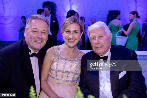 Peter Weck and Andre Rupprechter with his wife Christine during the Fete Imperiale 2018 on June 29, 2018 in Vienna, Austria.