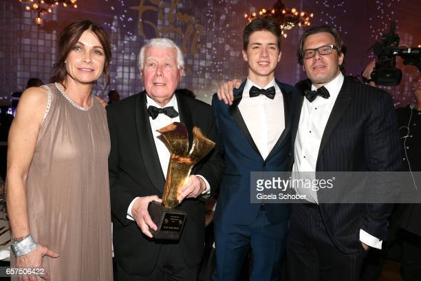Peter Weck and his daughter Barbara Weck and his son Philipp Weck and his grandson Timon Weck during the 8th Filmball Vienna at City Hall on March 24...