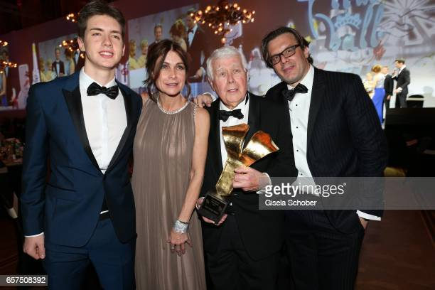 Peter Weck and his daughter Barbara Weck and his son Philipp Weck and his grandson Timon Weck with award during the 8th Filmball Vienna at City Hall...