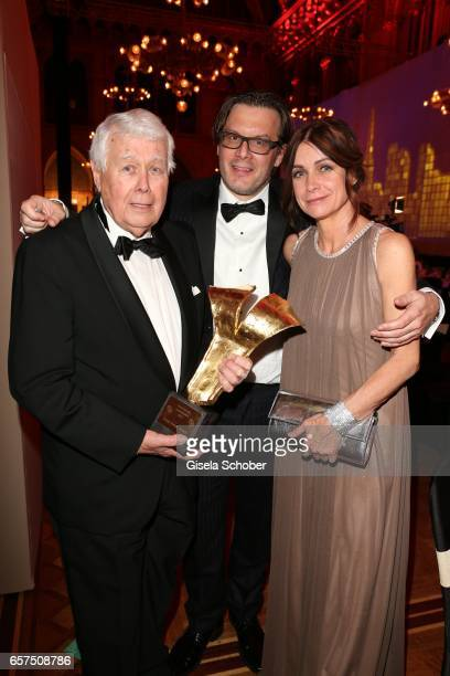 Peter Weck and his son Philipp Weck and his daughter Barbara Weck with award during the 8th Filmball Vienna at City Hall on March 24 2017 in Vienna...