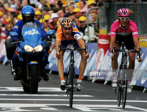 Peter Weening of the Netherlands and Rabobank beats Andreas Kloden of Germany and T-Mobile at the finish line to win Stage 8 of the 92nd Tour de...