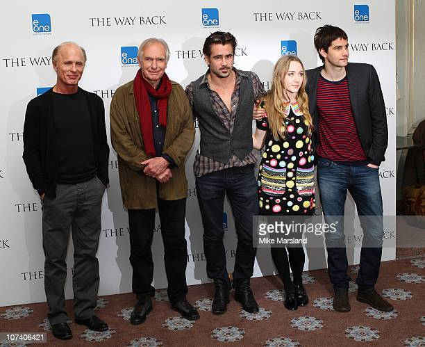 Peter Weir Jim Sturgess Ed Harris Colin Farrell and Saoirse Ronan promote film 'The Way Back' at Claridges Hotel on December 8 2010 in London England