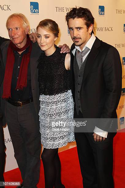 Peter Weir Saoirse Ronan and Colin Farrell attend a drinks reception before the UK premiere of The Way Back held at The Washington Hotel on December...