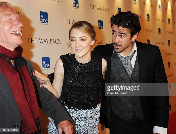 Peter Weir Saoirse Ronan and Colin Farrell attend the drinks reception ahead of the UK film premiere of 'The Way Back' at The Washington Mayfair...