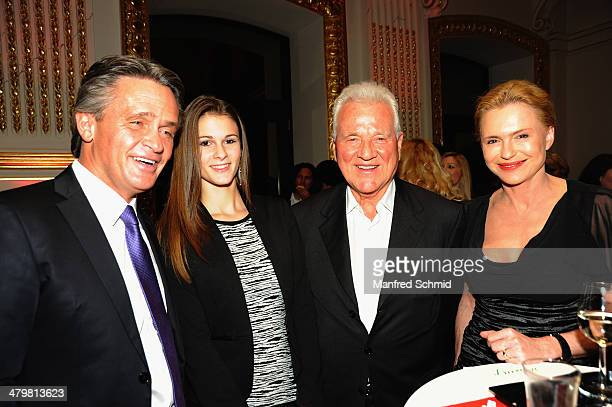 Peter Westenthaler Conny Westenthaler and Frank Stronach attend the Miss Vienna 2014 contest at Sofiensaele on March 20 2014 in Vienna Austria
