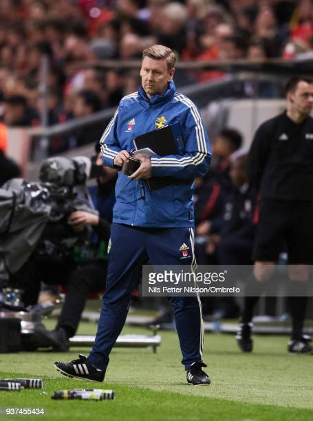 Peter Wettergren assistant coach of Sweden during the International Friendly match between Sweden and Chile at Friends arena on March 24 2018 in...