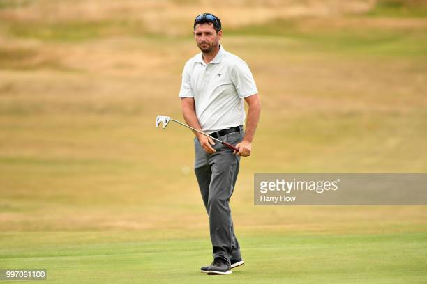 Peter Whiteford of Scotland reacts to a missed putt for birdie on hole sixteen during day one of the Aberdeen Standard Investments Scottish Open at...