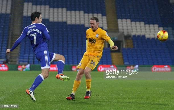 Peter Whittingham of Cardiff City crosses the ball into the box whilst under pressure from Aiden McGeady of Preston North End during the Sky Bet...