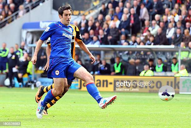 Peter Whittingham of Cardiff City scores their first goal during the Barclays Premier League match between Hull City and Cardiff City at KC Stadium...