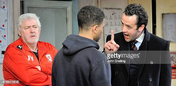 Peter Wight as Yates Calvin Demba as Jordan and Daniel Mays as Kidd perform on stage during a performance of 'The Red Lion' a new play by Patrick...
