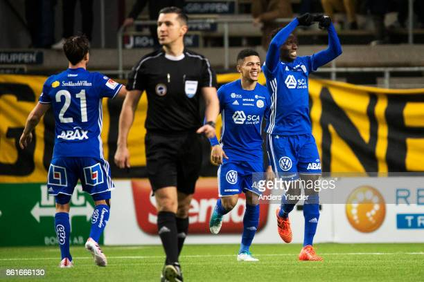 Peter Wilson of GIF Sundsvall celebrates after he scores the opening goal during the Allsvenskan match between IF Elfsborg and GIF Sundsvall at Boras...