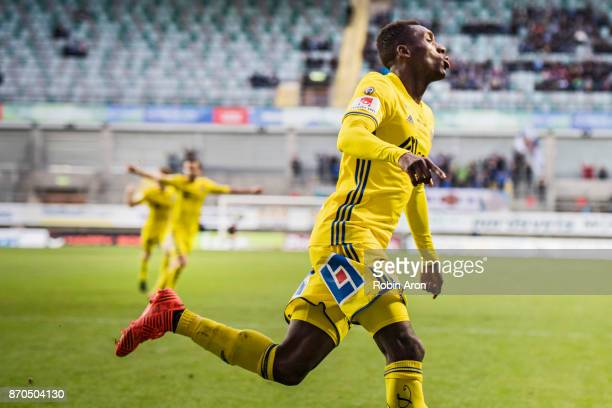 Peter Wilson of GIF Sundsvall celebrates after scoring 02 during the Allsvenskan match between IFK Goteborg and GIF Sundvall at Gamla Ullevi on...