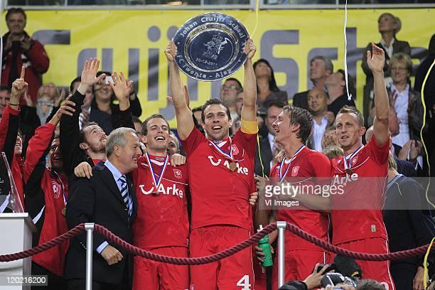 Peter Wisgerhof of FC Twente ,Wout Brama of FC Twente ,Eddy Achterberg of FC Twente,Luuk de Jong of FC Twente ,Tim Cornelisse of FC Twente after the...