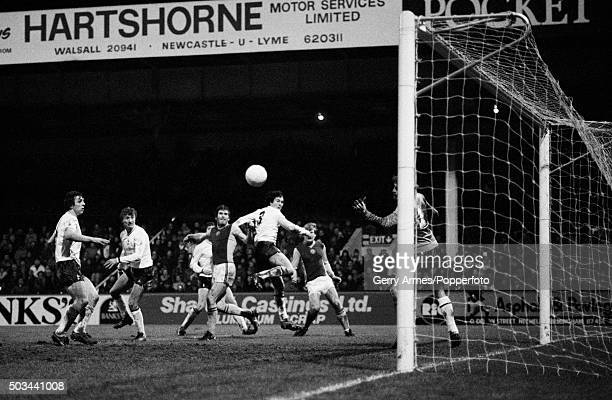 Peter Withe heads the ball past Tottenham Hotspur defender Paul Miller and goalkeeper Ray Clemence to score for Aston Villa during their match at...