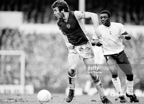 Peter Withe of Aston Villa with Garth Crooks of Tottenham Hotspur during their FA Cup 5th round match held at White Hart Lane London on 13th February...