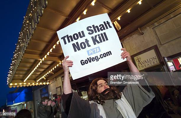 Peter Wood an activist with People for the Ethical Treatment of Animals protests at the Avalon Theater during the premiere of Mel Gibson's 'The...