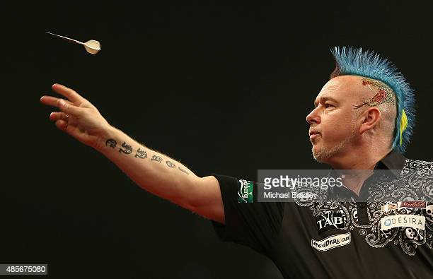 Peter Wright in action during the Auckland Darts Masters at The Trusts Arena on August 29 2015 in Auckland New Zealand