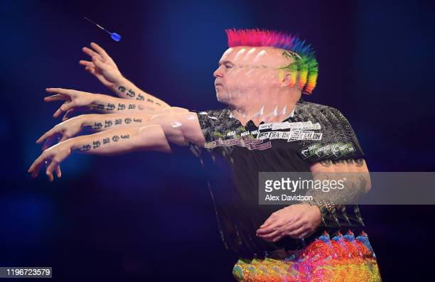Peter Wright in action during the SemiFinal match between Peter Wright and Gerwyn Price on Day 15 of the 2020 William Hill World Darts Championship...