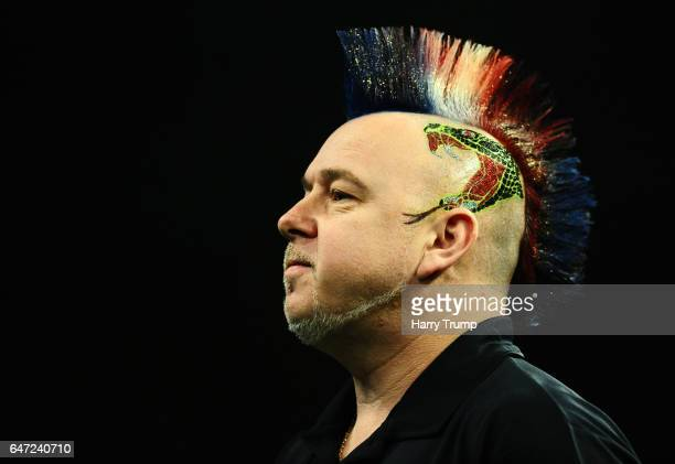 Peter Wright looks on during Night Five of the Betway Premier League Darts at Westpoint Arena on March 2 2017 in Exeter England