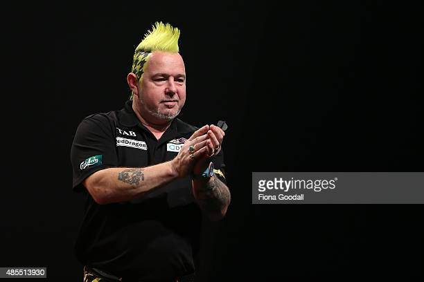 Peter Wright of Scotland during the Auckland Darts Masters at The Trusts Arena on August 28 2015 in Auckland New Zealand