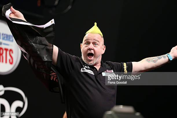 Peter Wright of Scotland in action during the Auckland Darts Masters at The Trusts Arena on August 28 2015 in Auckland New Zealand