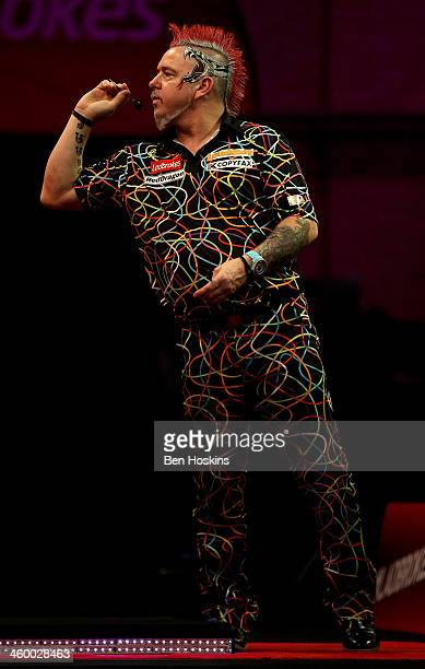Peter Wright of Scotland in action during the final of the Ladbrokescom World Darts Championships at Alexandra Palace on January 1 2014 in London...