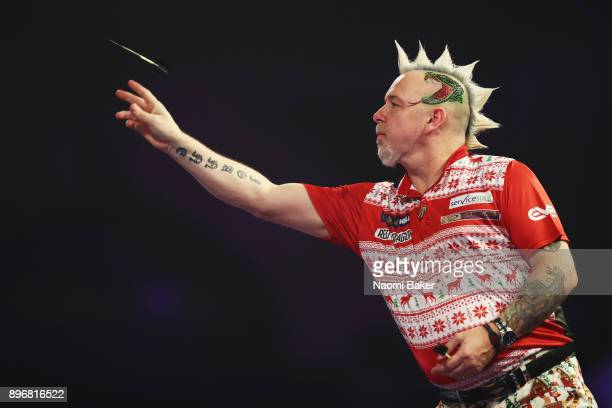 Peter Wright of Scotland in action during the match against Diogo Portela of Brazil on day eight of the 2018 William Hill PDC World Darts...
