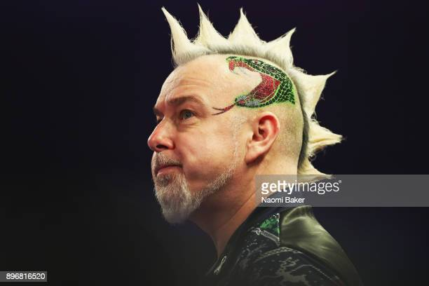 Peter Wright of Scotland looks on during day eight of the 2018 William Hill PDC World Darts Championships at Alexandra Palace on December 21 2017 in...