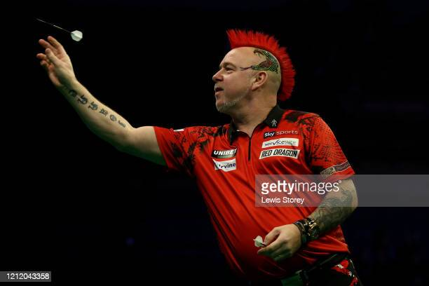Peter Wright of Scotlandthrows a dart in his match against Michael Smith of England during Night Six of the Premier League Darts at the MS Bank Arena...