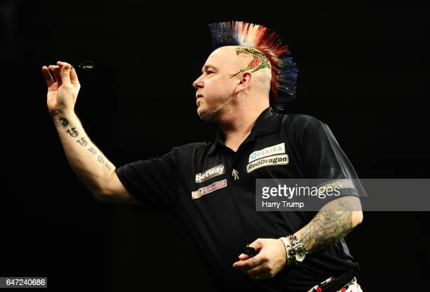Peter Wright throws during Night Five of the Betway Premier League Darts at Westpoint Arena on March 2 2017 in Exeter England