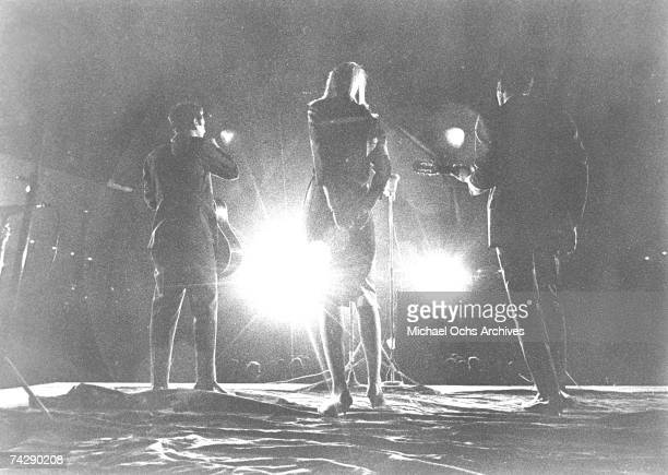 Peter Yarrow Mary Travers and Paul Stookey of the folk group Peter Paul Mary perform on stage in circa 1965