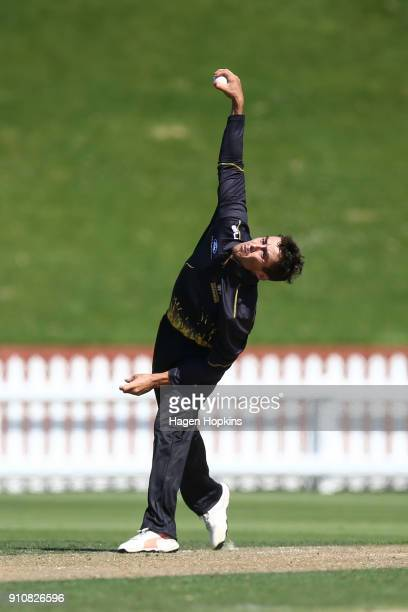 Peter Younghusband of the Firebirds bowls during the Ford Trophy match between the Wellington Firebirds and Northern Districts at Basin Reserve on...
