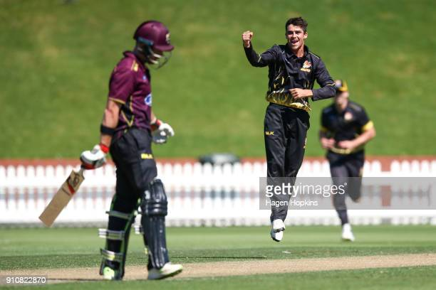 Peter Younghusband of the Firebirds celebrates after taking the wicket of Nick Kelly of Northern Districts during the Ford Trophy match between the...