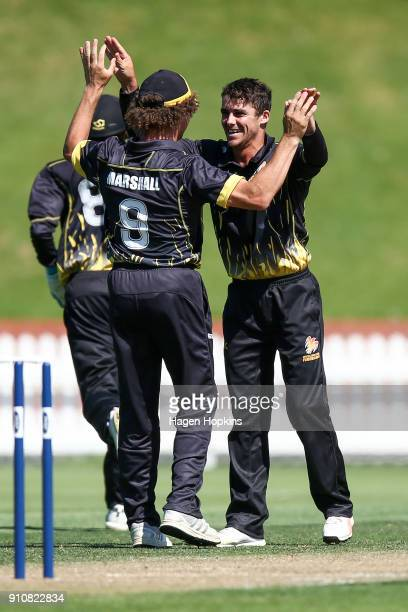 Peter Younghusband of the Firebirds celebrates with Hamish Marshall after taking the wicket of Nick Kelly of Northern Districts during the Ford...