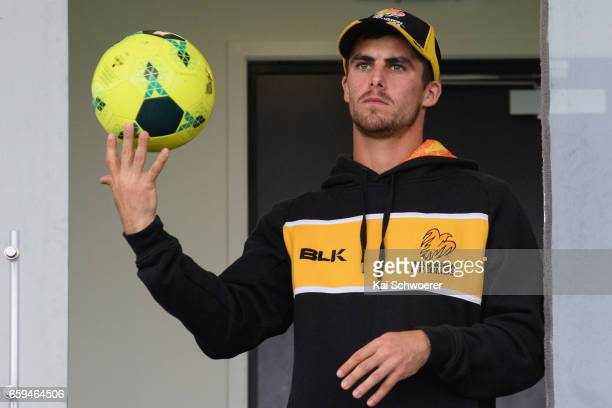 Peter Younghusband of Wellington looks on as rain delays play during the Plunket Shield match between Canterbury and Wellington on March 29 2017 in...