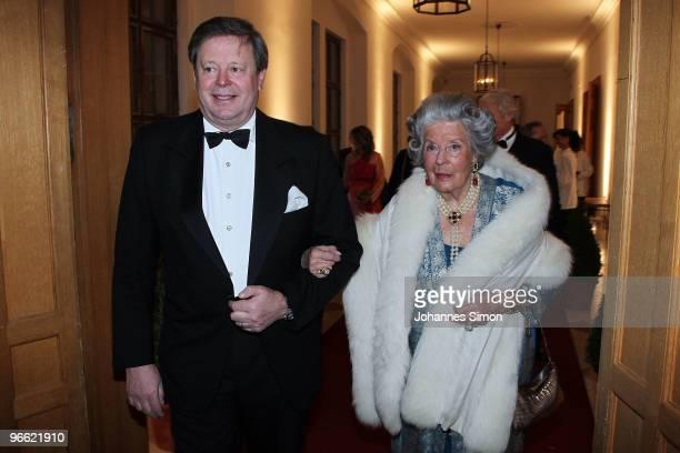 Peter zu SaynWittgensteinSayn and his mother Marianne zu SaynWittgensteinSayn arrives for the Hubert Burda Birthday Reception at Munich royal palace...