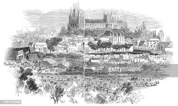 Peterborough Bridge Fair, 1844. Annual fair held at Peterborough in Cambridgeshire, '...on the Huntingdon side of the river Nene...sketched from Mr,...