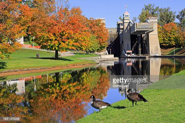 peterborough lift lock national historic site - peterborough ontario stock photos and pictures