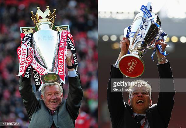 In this composite image a comparison has been made between images 114497769 and 114923333 of Father and Son Sir Alex Ferguson manager of Manchester...