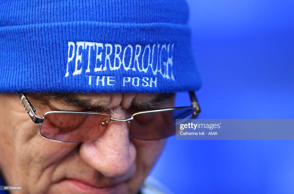 A Peterborough United fan wearing a hat during the Sky Bet League One match between Peterborough United and Shrewsbury Town at ABAX Stadium on October 28, 2017 in Peterborough, England.