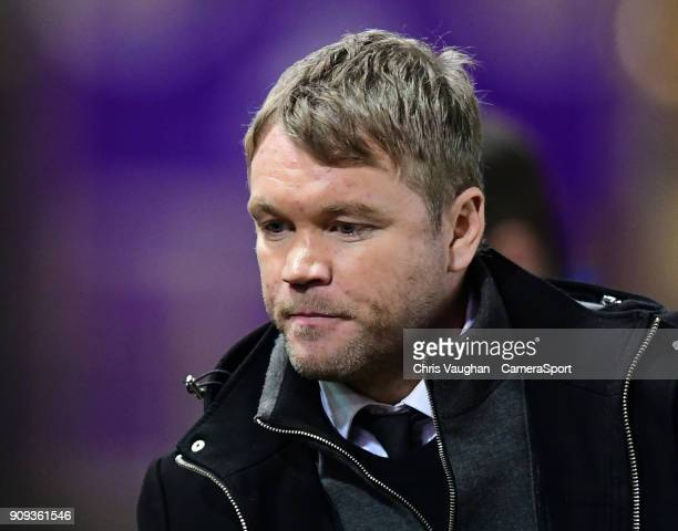 Peterborough United manager Grant McCann during the Checkatrade Trophy Fourth Round match between Lincoln City and Peterborough United at Sincil Bank...