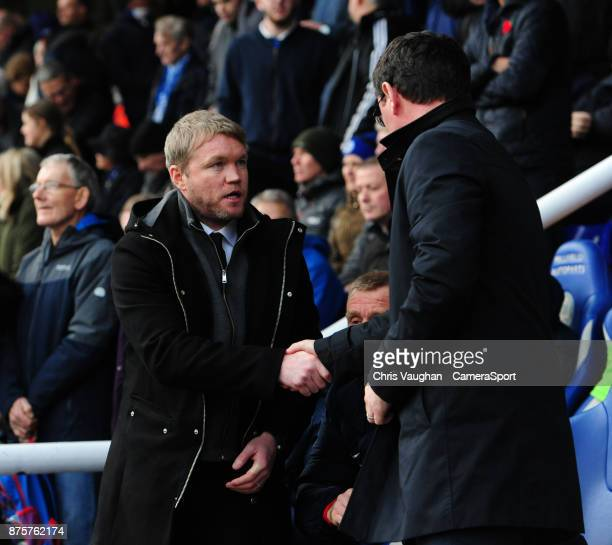 Peterborough United manager Grant McCann left and Blackpool manager Gary Bowyer shake hands prior to the Sky Bet League One match between...
