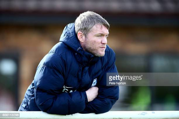 Peterborough United manager Grant McCann looks on during the friendly match between Northampton Town and Peterborough United at Fernie Fields on...