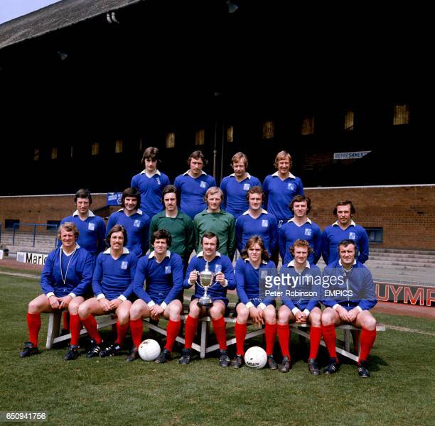 Peterborough United with the Fourth Division Championship trophy Keith Oakes Chris Turner Jim Hall Dave Llewellyn Bert Murray Jack Carmichael Eric...